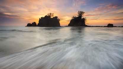 beach clouds dawn evening